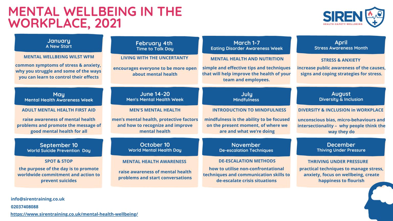 mental wellbeig calendar by siren training